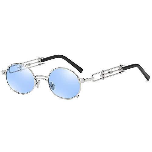 SHEEN KELLY Retro Steampunk Sonnenbrille Metall Runde Sonnenbrille für Männer Frauen Portionsaugen Vintage Sonnenbrille
