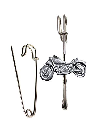 FT253 Motor Bike 3.5x1.8cm Sjaal, Broche en Kilt Pin Pewter 3