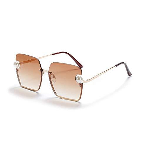 YHKF Gafas De Sol Sin Montura Diseñador De Mujer Gafas De Sol Cuadradas De Gran Tamaño Moda para Mujer Tonos Uv400-Marrón