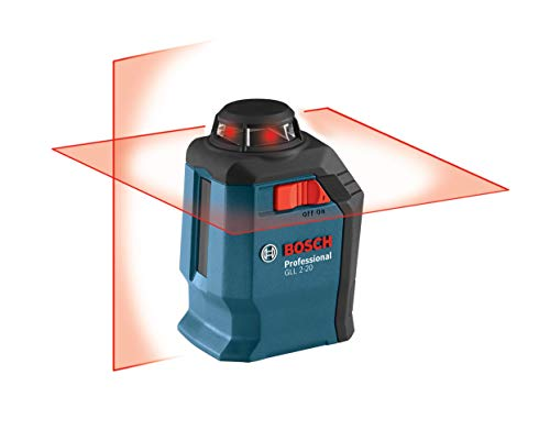 Bosch GLL2-20 65ft Self-Leveling 360 Degree Horizontal Cross Line Laser Level with Mount and Carrying Pouch