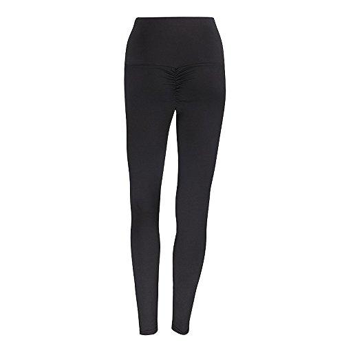 Linkay Damen Sport Leggings Lange Blickdicht Kompressions Yoga Fitnesshose Sporthose mit Hohe Taille für Workout Gym Jogging Hose (Schwarz,X-Large)