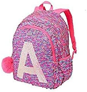 School Backpack Flip Sequin Fearless Shaky Initial (Letter M)