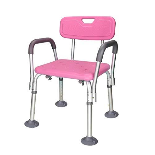 N\C Taburete de Ducha de Aluminio y plástico Ajustable en Altura con Patas de Goma Antideslizantes, Ayuda para el baño para Ancianos, Ancianos y discapacitados - Rojo LKWK