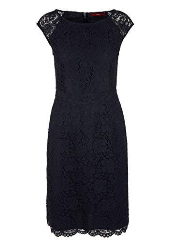 s.Oliver RED Label Damen Kurzes Kleid aus Blütenspitze Navy 46