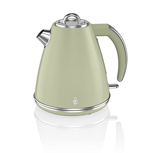 Swan Retro 1.5 Litre Jug Kettle, Green, with 360 Degree Rotational Base, 3KW Fast Boil, Easy Pour, SK19020GN