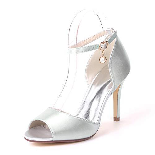 HLONGG Bombas Zapatos De La Boda, Sandalias Peep Toe De Las Mujeres con Tacones Altos,Plata,US5.5/EU36/UK3.5