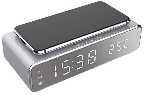 BETTERSHOP Despertador de Carga inalámbrico, Despertador Digital LED con Cargador inalámbrico Qi y termómetro para Todos los Dispositivos habilitados para la Carga Qi