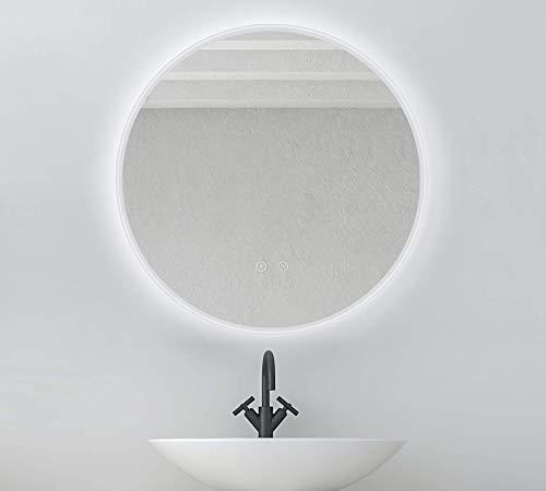 Pandafan LED Badspiegel Antibeschlag rund 60cm Badezimmerspiegel mit Beleuchtung Kaltweiß LED-Beleuchtung Wandspiegel Touchschalter energiesparend Energieeffizienzklasse A+ (Rund 60cm Antibeschlage)