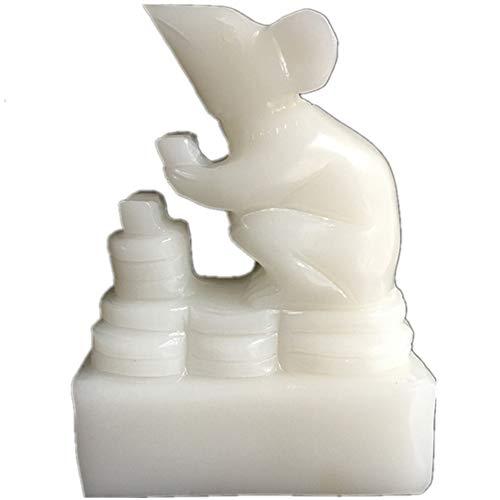 Blanco jade Feng Shui estatua chino Zodiac Animal Ratón/Rata Oficina Casa Mesa Decoración Figura Regalo Colección, Feng Shui Artículo, M