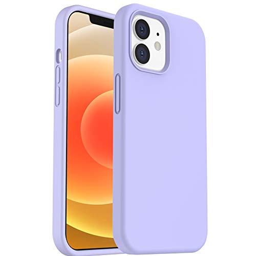 ORNARTO Silikon Hülle für iPhone 12   12 Pro 6,1 Verstärkte Stoßfeste Flüssige Silikon Gel Gummi Ganzkörper Schutz Stoßstange Abdeckungs Handyhülle für iPhone 12   12 Pro(2020) 6,1 Helles Lila