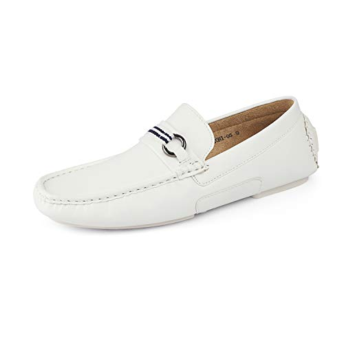 BRUNO MARC NEW YORK Men's Santoni-05 White Pu Penny Loafers Moccasins Shoes...