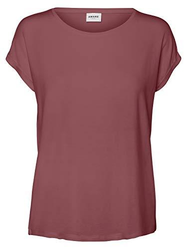 VERO MODA Damen VMAVA Plain SS TOP GA NOOS T-Shirt, Rose Brown, S