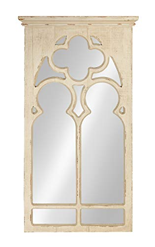 Kate and Laurel Mirabela Farmhouse Casual Wood Framed Decorative Arch Wall Mirror, White