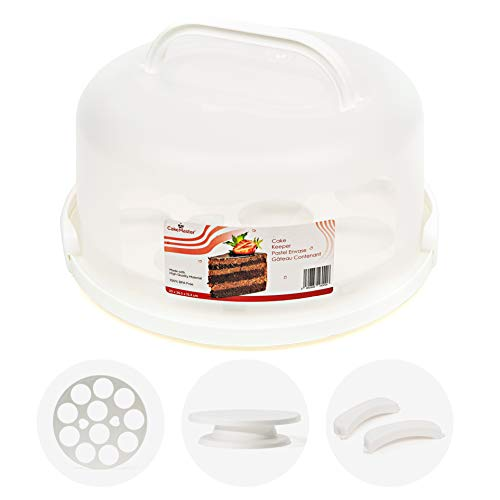 Cake Keeper with Cover & Cupcake Insert - Plastic Cupcake Carrier with Handle - Round Cake Carrier with Lid for Transport 10 inch Cakes - Caddie for Travel & Includes Cake Turntable - BPA-Free