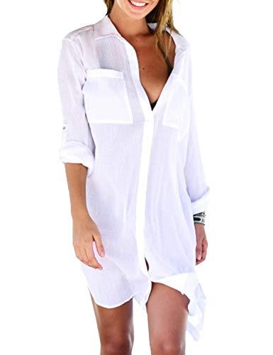Chiffon Copricostume da Bagno Donna Scollo a V Sexy Camicetta Bikini Cover Up Manica Lunga Taglia Unica per Spiaggia Piscina Mare Estate Vacanza (1-Bianco)