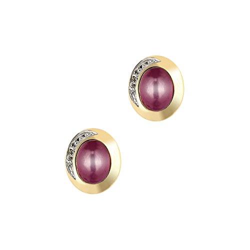 Goldance - Pendientes Pulsera de mujer de plata oro plateado con rubi y topacio blanco
