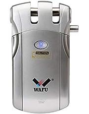 WAFU WF-018U Cerradura Electronica Invisible, Cerradura Invisible, Diseño de Sin Agujero, Método de Bloqueo de Tigre, con 4 Control Remotos, Plata