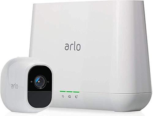 Arlo Pro2 Überwachungskamera & Alarmanlage, 1080p HD, 1er Set, Smart Home, kabellos, Innen/Außen, Nachtsicht, 130 Grad Blickwinkel, WLAN, 2-Wege Audio, wetterfest, Bewegungsmelder, (VMS4130P) - Weiß