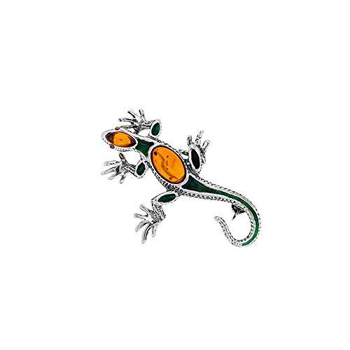 Nature d'Ambre - Broche de salamandra de plata 925/1000 rodiada, ámbar y esmalte verde (312008)