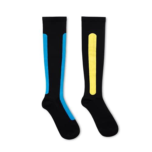 Ostrichpillow Calcetines de compresión de bambú para mujeres y hombres, para viajes, deportes, trabajo, alta circulación (Large - X-Large, Azul / Musgo amarillo)