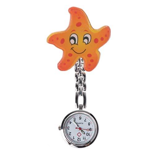 Reloj de enfermera de estrellas de mar relojes vintage pecho reloj de bolsillo acrílico dibujos animados lindo creativo colgante clip colgante cuarzo mujeres niñas señora moda regalo de Navidad