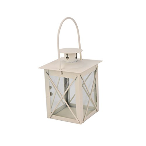 Blanco 23 cm wicemoon hierro candelabro Portavelas de cristal farol dise/ño de soporte hierro