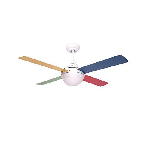 Sulion Bandit Ventilatore da Soffitto AC, 40 W, Bianco/Multicolore, 105 x 42