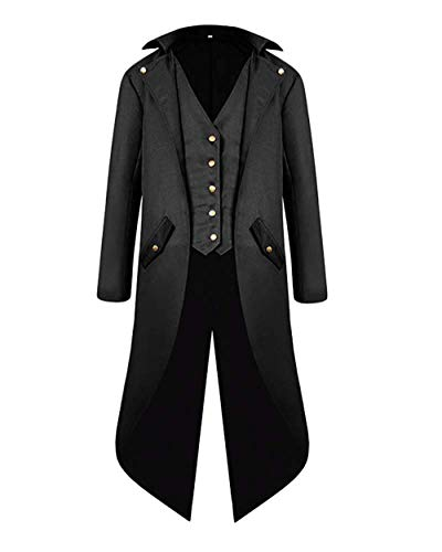 Material: 100% polyester,comfort and durability Feature: Knee length frock coat,long sleeve,lapel collar,side flap pockets with buttons. Occasion: The Vintage Tailcoat is suitable for adult men or teen boys, it's a perfect tuxedo jacket for steampunk...
