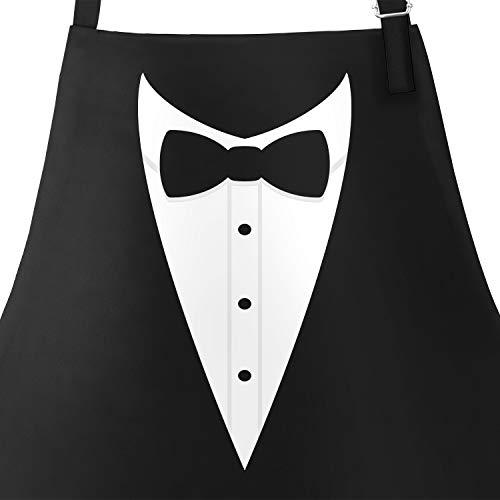 MoonWorks Grill-Schürze für Männer Grillschürze Smoking Suit Anzug Fliege lustig Baumwoll-Schürze Küchenschürze schwarz Unisize