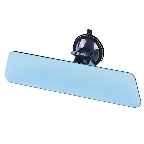 """CHUANGLIN Adhesive suction cup bezel-less rearview mirror, blue mirror anti-glare rearview mirror, truck, car, ship endoscope, size 11 """"x 2.75"""""""