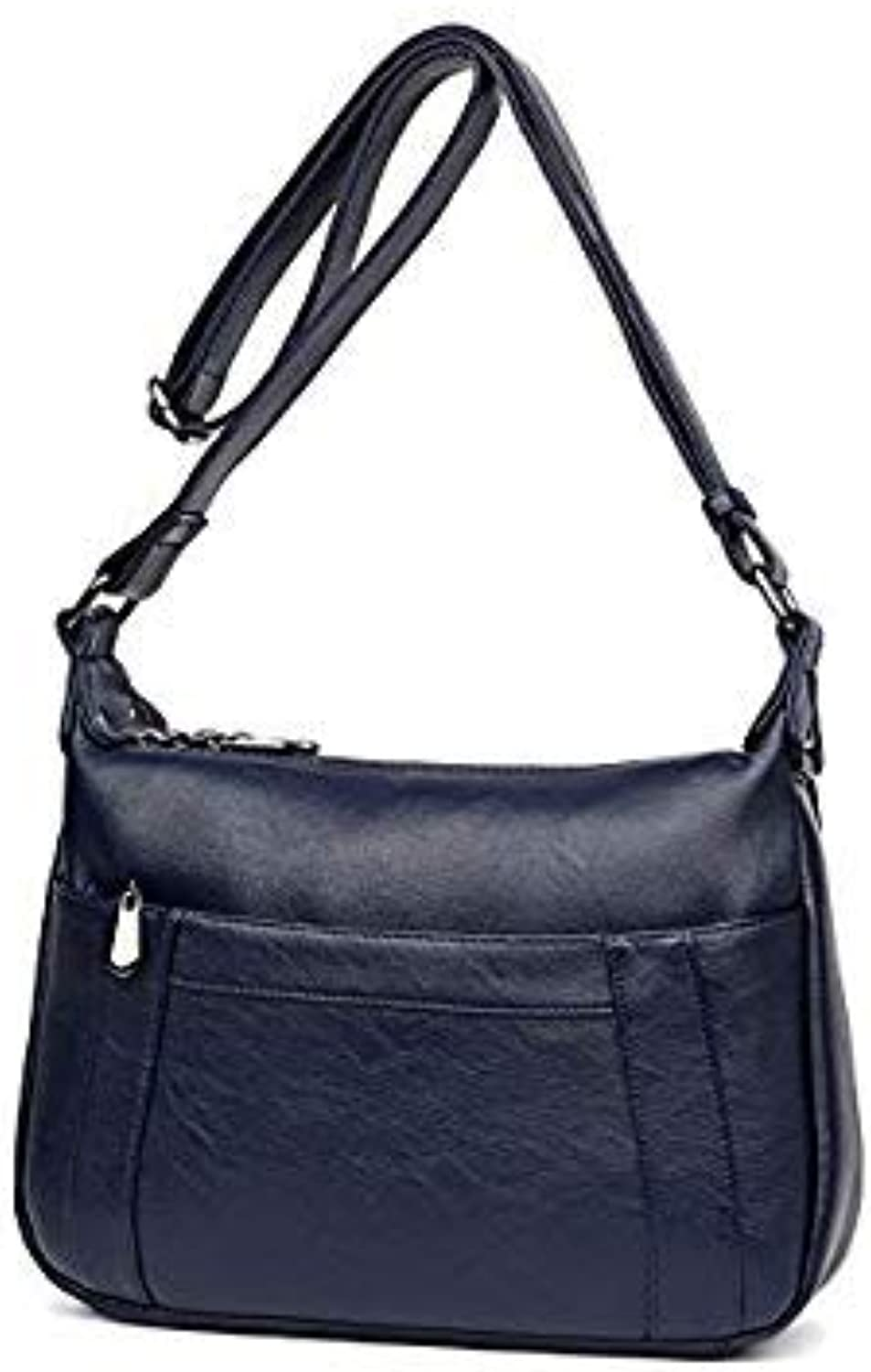 Bloomerang New Front Pocket High Quality Women Crossbody Bags Female Handbags Women Bag Handbags Solid Leather Messenger Shoulder Bag sac color blueee