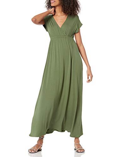 Light olive maxi dress with v-neck