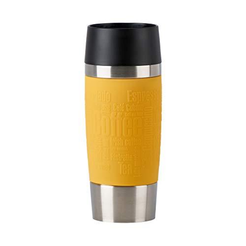 Emsa N2012800 Travel Mug - Termo de acero inoxidable, 0,36 litros, 4 horas calientes, 8 horas frías, 100 % hermético, antigoteo, apto para lavavajillas, apertura para beber de 360°, color amarillo