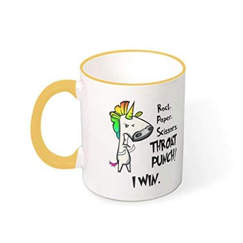 Taza de café de cerámica de CCMugshop, divertida taza de café con diseño de unicornio arcoíris, divertida taza de té blanca, para bebidas, regalo para familia y amigos, Rojo dorado., 330ml