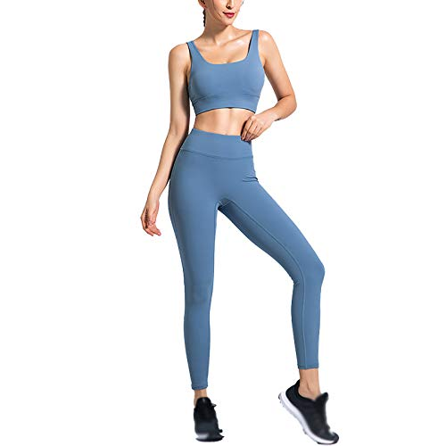 Quick-Drying High-Elastic Yoga Suit Women's Beautiful Back High Waist and Hips Solid Color Sports Suit Blue-XL