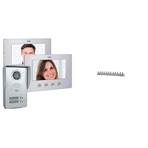 ELRO DV477W2 2-Familien Video Türsprechanlage mit 2 Farbdisplay, 4-Draht Technik, 16 Klingeltöne, Grau, One Size & ABB Stift-Phasenschiene 3-phasig PS3/12 pro M compact, 10mm², 12 Teilungseinheiten