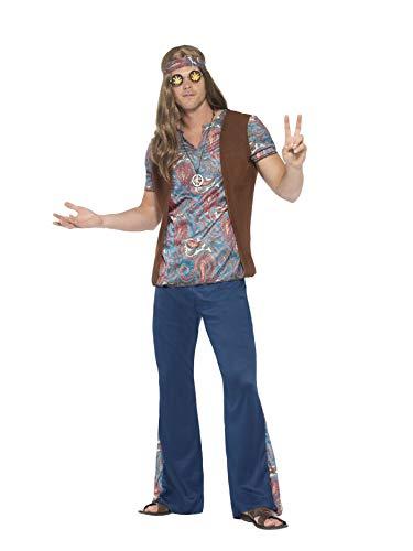 Smiffys 45517M - Herren Hippie Kostüm, Oberteil, Hose, Kopftuch und Medaillon Größe: M, blau