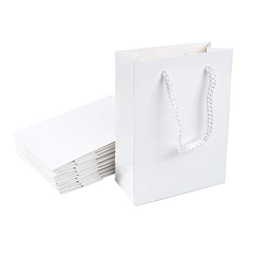 NBEADS Papiertüten mit Griffen, Weiß, 10 Stück, Papier, Weiß, 12×5.7×16cm