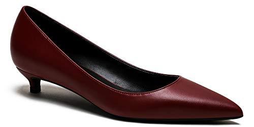 soulength High Heels Schuhe Damen 131 Bequem 3cm Kitten-Heel Pumps Weinrot größe 36