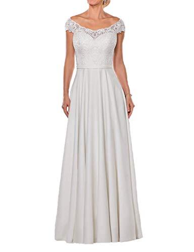 Schlichte Brautkleider Off-Shoulder Spitze Lang A-Linie Schleppe Hochzeitskleider Satin Cap-Ärmel Standesamt Kleider Weiß 38