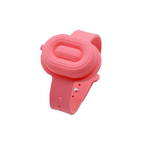 MARIJEE Dispensador de jabón de mano con botella exprimida, dispensador de pulsera desinfectante de manos para viajes en casa, pulsera portátil, dispensador de mano (rosa)