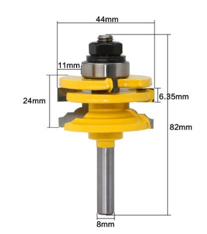 QHXCM 1st 8mm Schacht 44mm*24mm*82mm Glazen Deur Rail & Stile Omkeerbare Router Bit Houtbewerking Frezen voor Hout Gereedschap Bits 02014