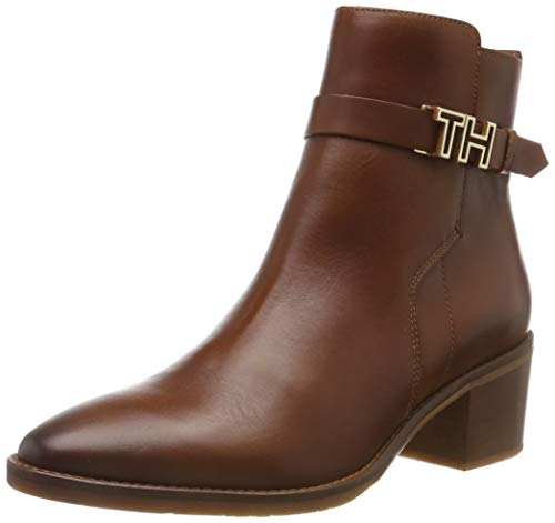Tommy Hilfiger Damen TH Hardware Leather MID Bootie Stiefeletten, Braun (Ginger Bread 202), 38 EU