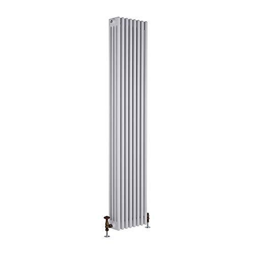 Milano Hudson Reed Regent Radiador de Diseño Vertical en Estilo de Hierro Fundido - Radiador con Acabado Blanco - Columnas 4 x 8-2153W - 1800 x 380 x 139mm - Calefacción de Lujo