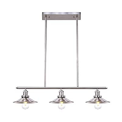 Wellmet 3-Lights Dining Room Lighting Fixtures Hanging, Modern Pendant Light for Kitchen Island with Brushed Nickel Finish , Vintage Height Adjustable Metal Ceiling Fan for Kitchen Table