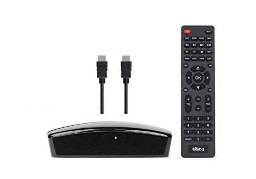 eXuby Digital Converter Box for TV - View and Record HD Digital Channels for Free (Instant or Scheduled Recording, 1080P HDTV, High Resolution, HDMI Output, 7 Day Program Guide) with HDMI & RCA Cable