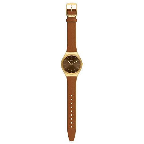 Swatch Reloj Analógico para Mujer de Cuarzo Suizo con Correa en Cuero Genuino SYXG104