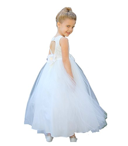 Ivory Floral Lace Heart Cutout Junior Flower Girl Dress Bridal Gown 172F 6
