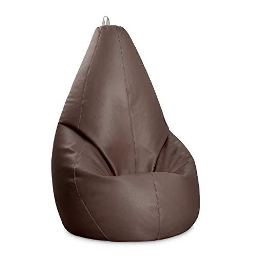 Puff Pera XL auténtico de Polipiel | Interior o Exterior | Fabricado a Mano 100% en España (XL, Chocolate)