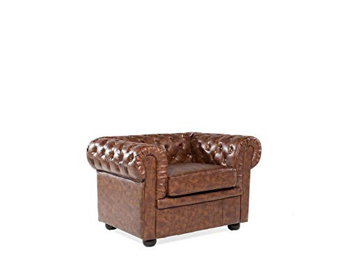 Beliani - Fauteuil - Chesterfield - en Simili-Cuir, Marron